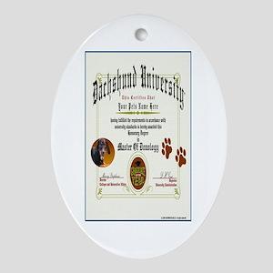 DACHSHUND Diploma Oval Ornament