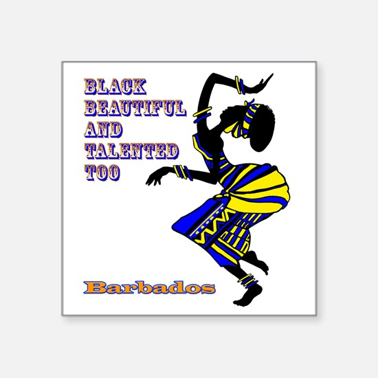 "BLACK BEAUTIFUL BARBADOS Square Sticker 3"" x 3"""