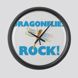 Dragonflies rock! Large Wall Clock
