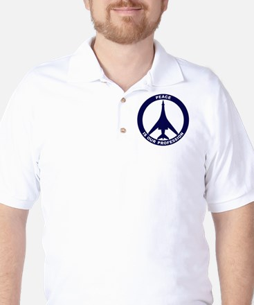 Peace Is Our Profession - B-1B Navy Blu Golf Shirt