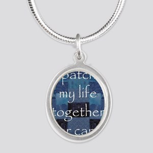 Patchwork Life Silver Oval Necklace