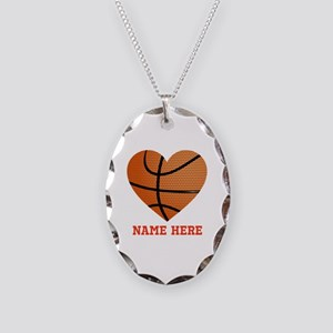 Basketball Love Personalized Necklace Oval Charm