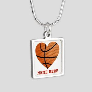 Basketball Love Personaliz Silver Square Necklace