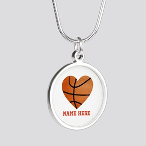 Basketball Love Personalized Silver Round Necklace