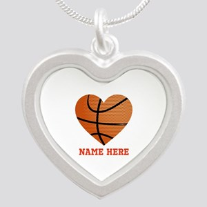 Basketball Love Personalized Silver Heart Necklace