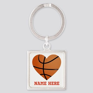Basketball Love Personalized Square Keychain