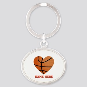 Basketball Love Personalized Oval Keychain