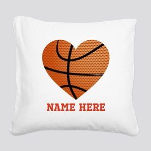 Basketball Love Personalized Square Canvas Pillow