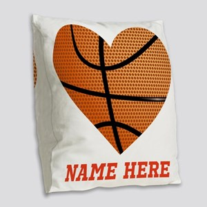 Basketball Love Personalized Burlap Throw Pillow