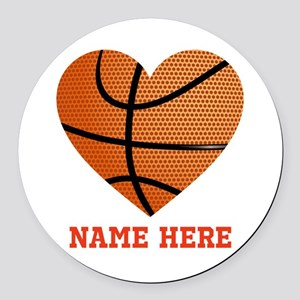 Basketball Love Personalized Round Car Magnet