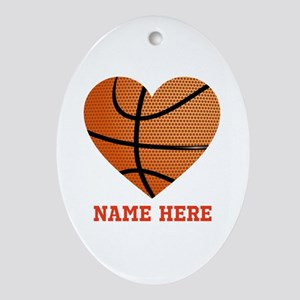 Basketball Love Personalized Oval Ornament
