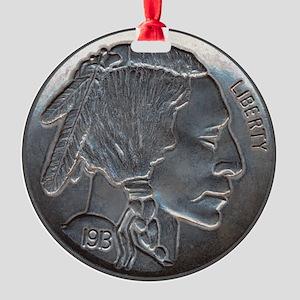 NickleIndian-C8trans Round Ornament