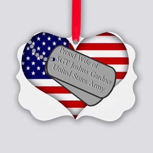 personalized american with tags w Picture Ornament