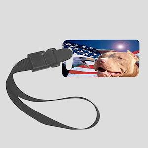 American Eagle and Pitbull man s Small Luggage Tag