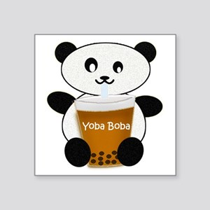 "Boba Panda Square Sticker 3"" x 3"""