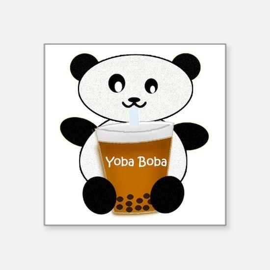 "Boba Panda Square Sticker 3"" x 3"""