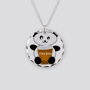 Boba Panda Necklace Circle Charm
