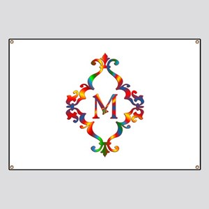 Colorful Letter M Monogram Initial Banner