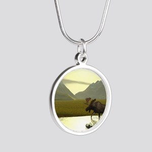 Afternoon Moose Silver Round Necklace