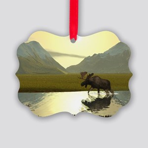 Afternoon Moose Picture Ornament