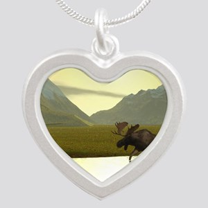 Afternoon Moose Silver Heart Necklace