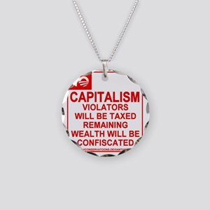 No Capitalism Necklace Circle Charm
