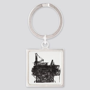 VintageOilRig1 Square Keychain