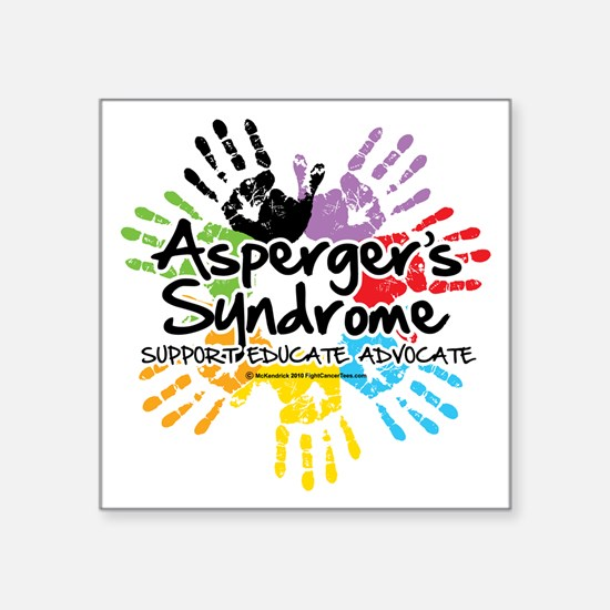 "Aspergers-Handprint Square Sticker 3"" x 3"""