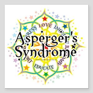 "Aspergers-Syndrome-Lotus Square Car Magnet 3"" x 3"""