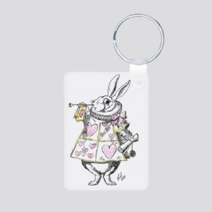 white rabbit 001 Aluminum Photo Keychain