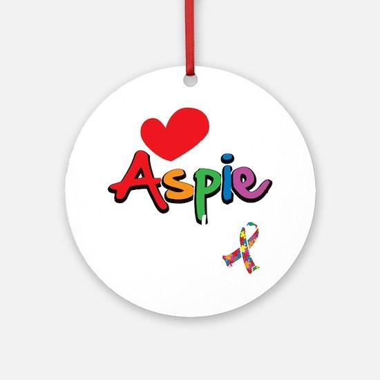 I-Love-My-Aspie-Daughter-blk Round Ornament