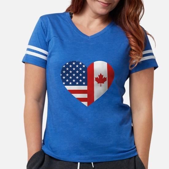 Canadian American Flag Love Womens Football Shirt