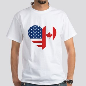Canadian American Flag Love White T-Shirt