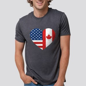 Canadian American Flag Love Mens Tri-blend T-Shirt