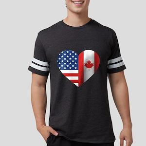Canadian American Flag Love Mens Football Shirt