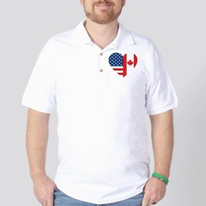 Canadian American Flag Love Polo Shirt