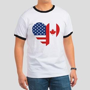 Canadian American Flag Love Ringer T