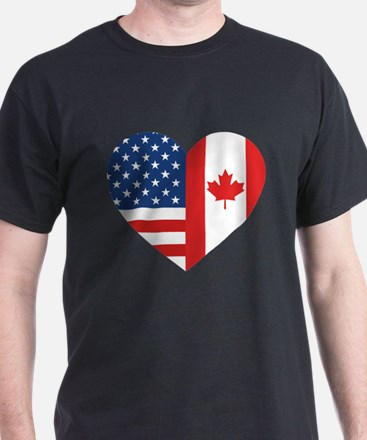 Canadian American Flag Love T-Shirt