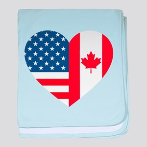 Canadian American Flag Love baby blanket