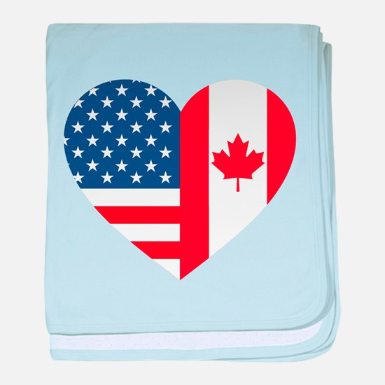 Canadian American Flag Love baby blanket