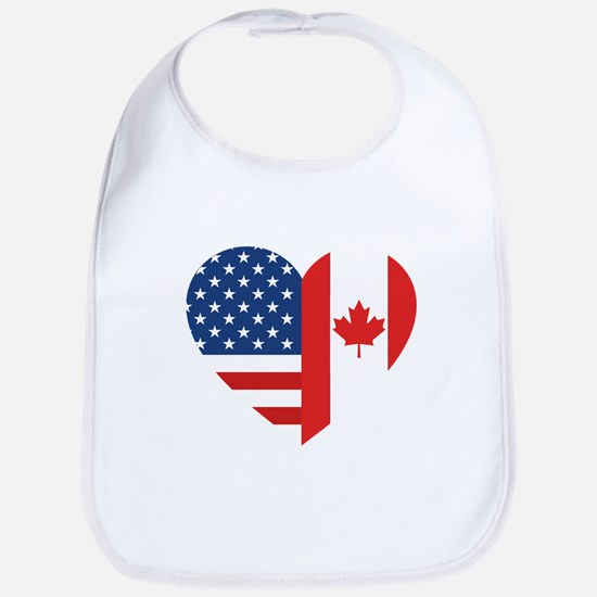 Canadian American Flag Love Cotton Baby Bib