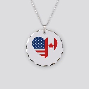 Canadian American Flag Love Necklace Circle Charm