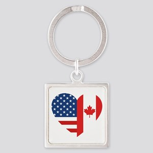 Canadian American Flag Love Square Keychain