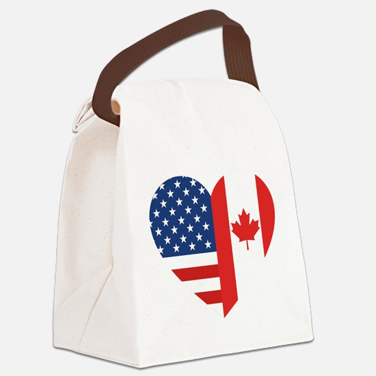 Canadian American Flag Love Canvas Lunch Bag