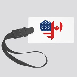 Canadian American Flag Love Large Luggage Tag