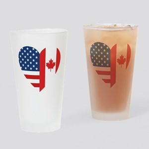 Canadian American Flag Love Drinking Glass