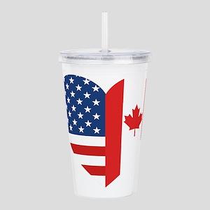 Canadian American Flag Acrylic Double-wall Tumbler