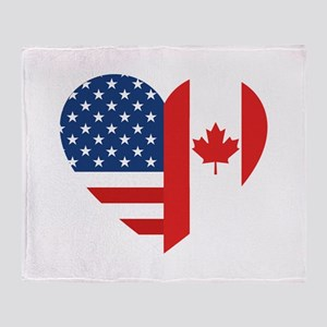 Canadian American Flag Love Throw Blanket