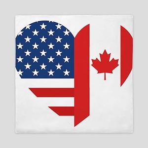 Canadian American Flag Love Queen Duvet