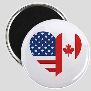 Canadian American Flag Love Magnet